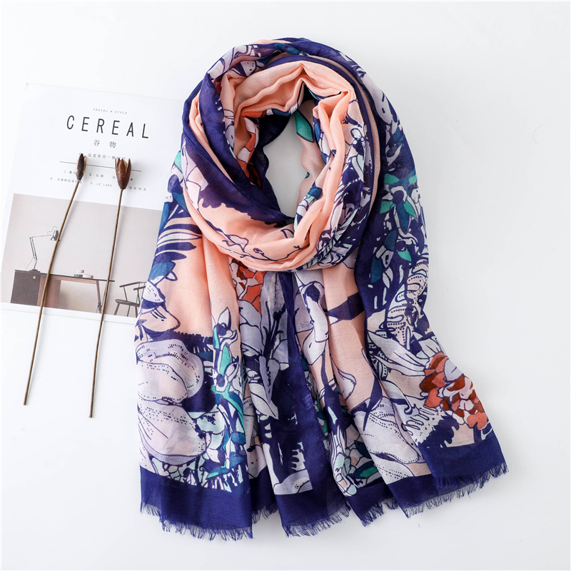 New cotton and linen scarf fringed fashion silk scarf printing travel sun shawl NHGD188384