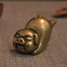 卓盈堂调皮小猪盖置茶具配件 纯古铜做旧个性动物茶宠摆件批发