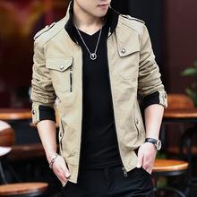 春秋季新款男式夹克纯棉水洗修身立领夹克青少年休闲外套潮男装