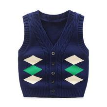 2019年新款兒童毛線衣休閑V領針織開衫方格背心童裝批發廠家直銷