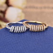 信艺达 欧美金黄色银镶晶钻戒指配灵动小圈 时尚手饰 厂家直销