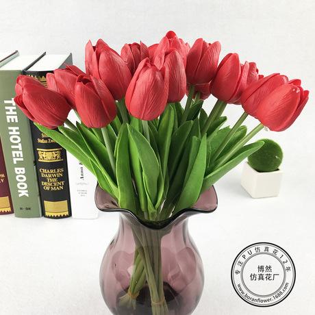 PU mini tulip nhân tạo hoa giả hoa trang trí nhà cung cấp đám cưới cảm thấy hoa tulip nhà máy trực tiếp