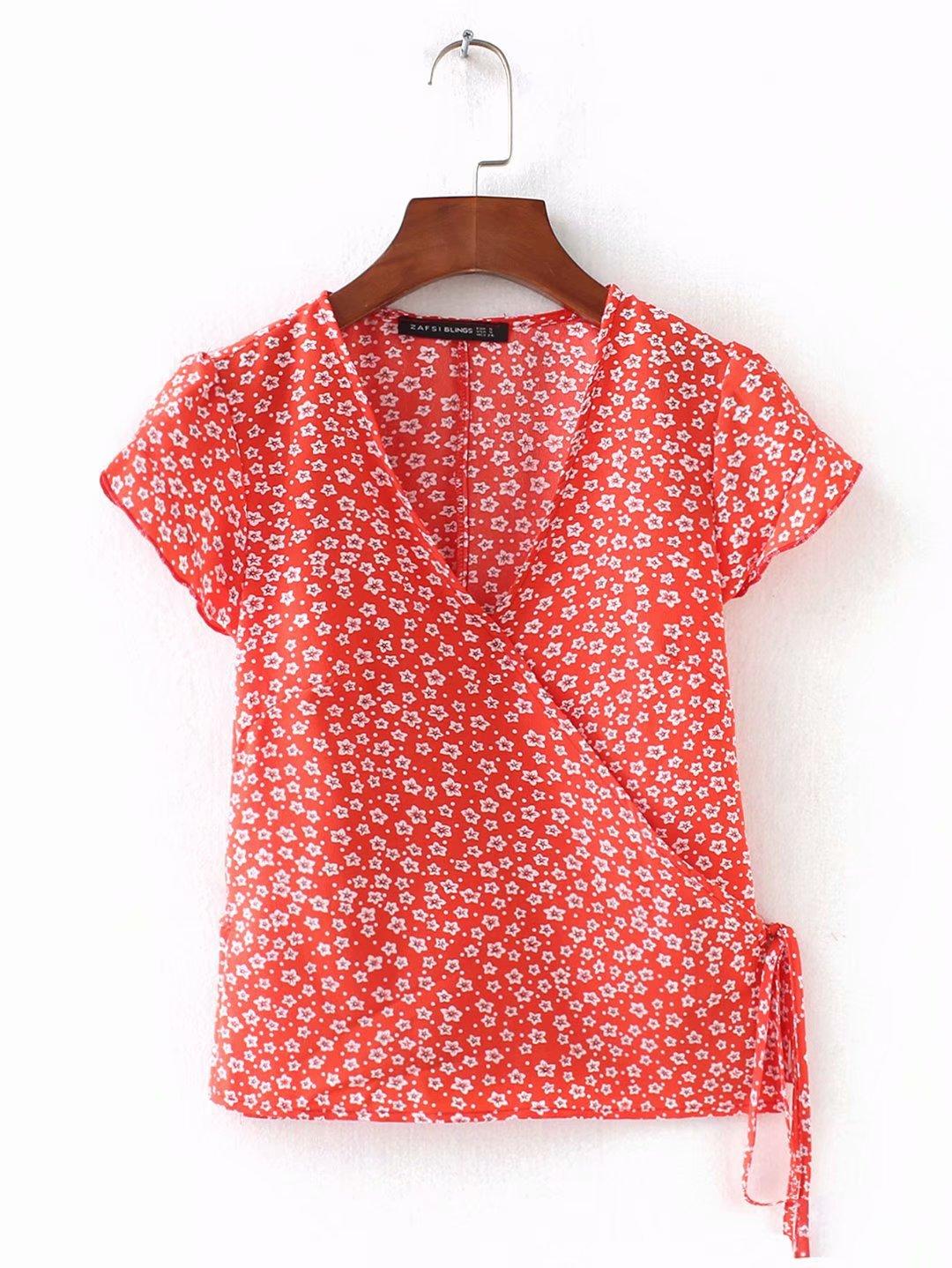 Printed short lace-up shirt NHAM153254