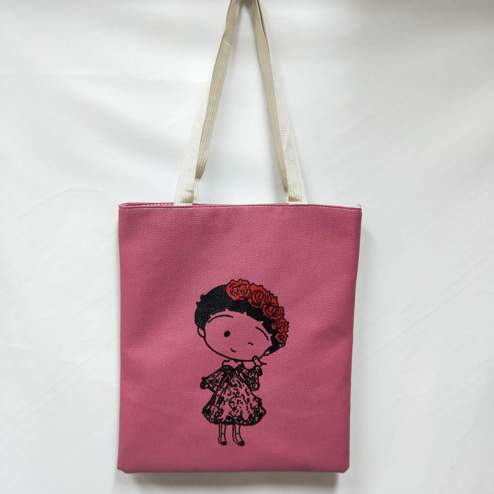 韩国小清新百搭po小直板印花单肩包时尚女包帆布包厂家直销