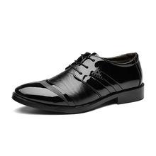 跨境专供2019春季新款皮鞋男士商务正装婚鞋系带尖头单鞋一件代发