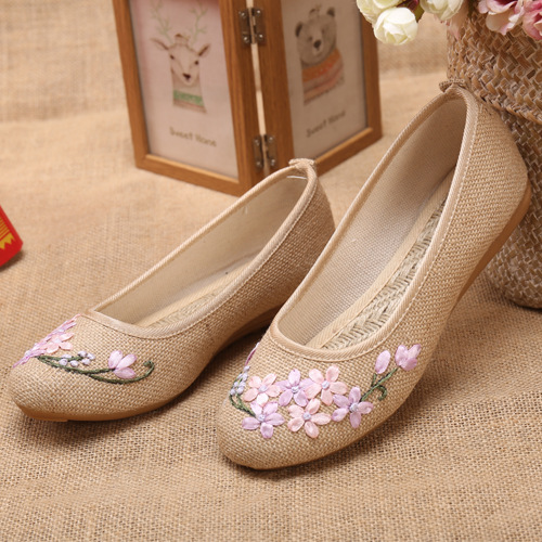 Women chinese clothing shoes Beijing shoes ethnic hanfu embroidered shoes bottom linen princess fairy stage performance flat sole shoes