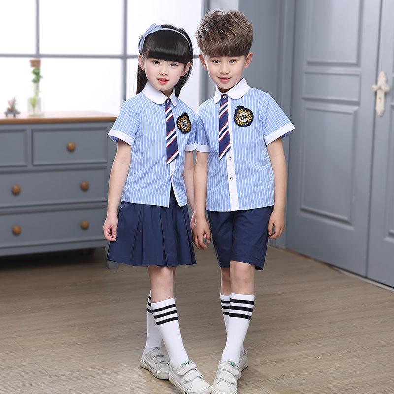 2019夏季童装 学院风儿童校服套装 中大童短袖男女童校服两件套