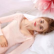 1519刺繡花邊秋衣秋褲莫代爾面料女薄款蕾絲低領打底保暖內衣套裝