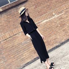 2018春裝新款韓版時尚開叉中長裙大碼氣質收腰顯瘦赫本連衣裙女