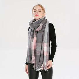 New  autumn and winter ladies plaid faux velvet scarf men's British gram warm winter cold scarf