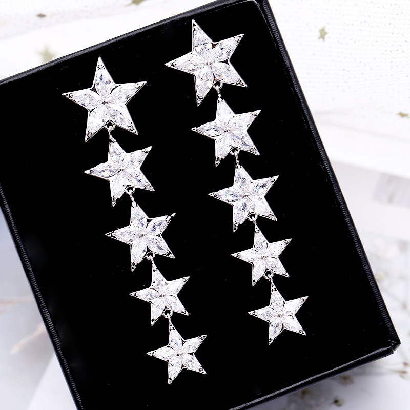 Korean S925 Silver Pin Colored Pentagram Crystal Earrings Long Female Earrings NHDO197340