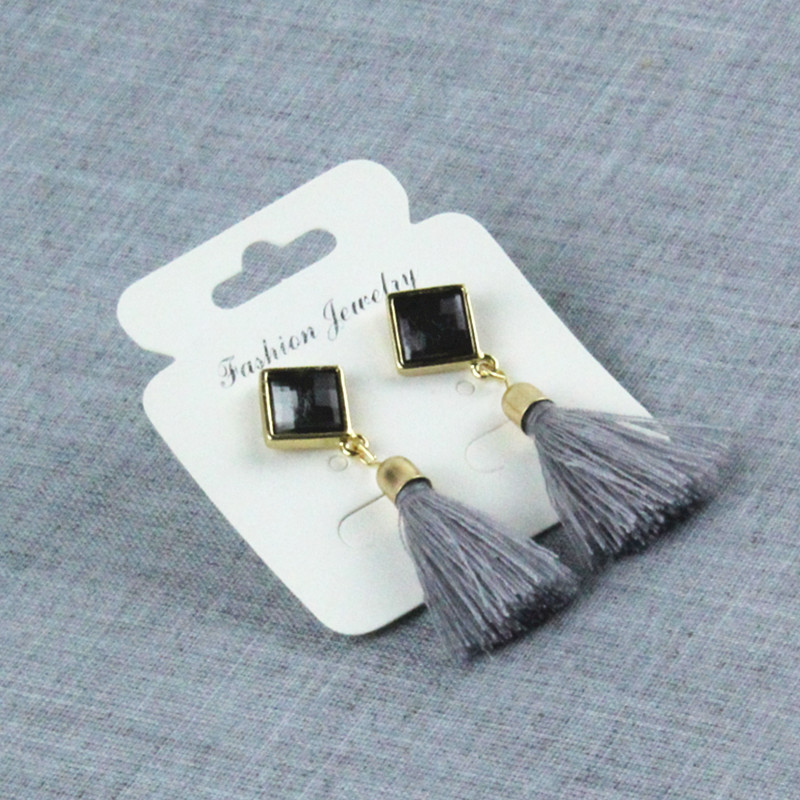 New fringed cotton velvet rhinestone gemstone earrings NHPF145231