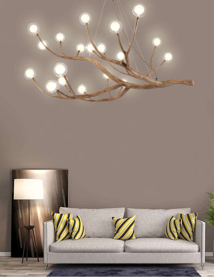 天猫供货新中式创意树枝树杈吊灯 个性客厅餐厅书房艺术球泡灯具