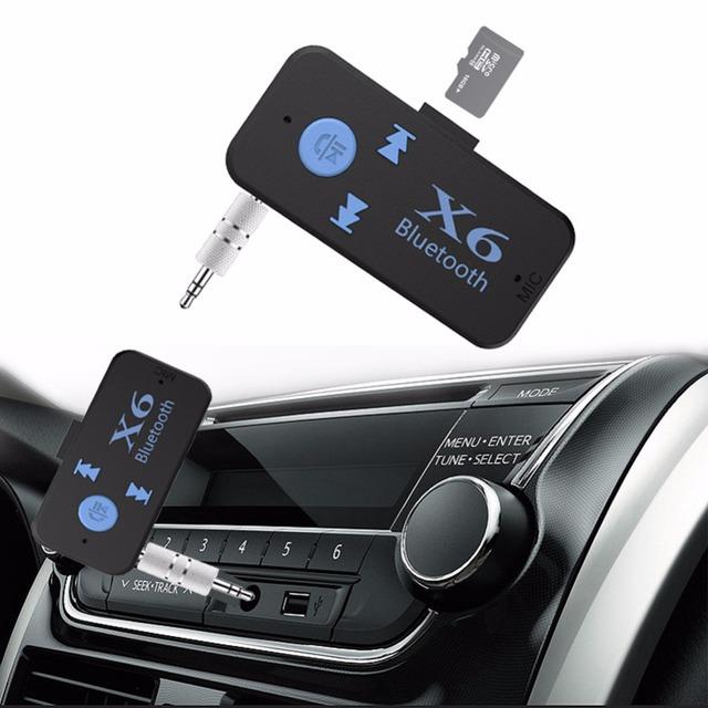 X6 车载蓝牙接收器 aux音频蓝牙适配器 3.5mm音频音乐 插卡播放器