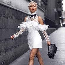 2018亚马逊热卖女装大牌走秀款荷叶边蕾丝拼接绷带连衣裙一件代发