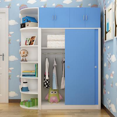 衣柜推拉门 现代儿童收纳柜 卧室定做移门衣橱 布衣柜升级木衣柜