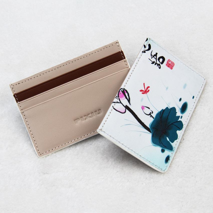 厂家订做女士真皮卡包 薄印花卡夹皮质银行卡套牛皮卡包皮具定