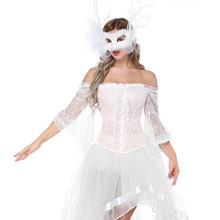 2018新品女裝歐美蕾絲中袖一字領宮廷束身衣 喇叭袖花邊束身衣