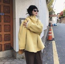 卢浮冬韩国东大门鹅黄连帽羊毛双面呢大衣短款宽松加厚毛呢外套女