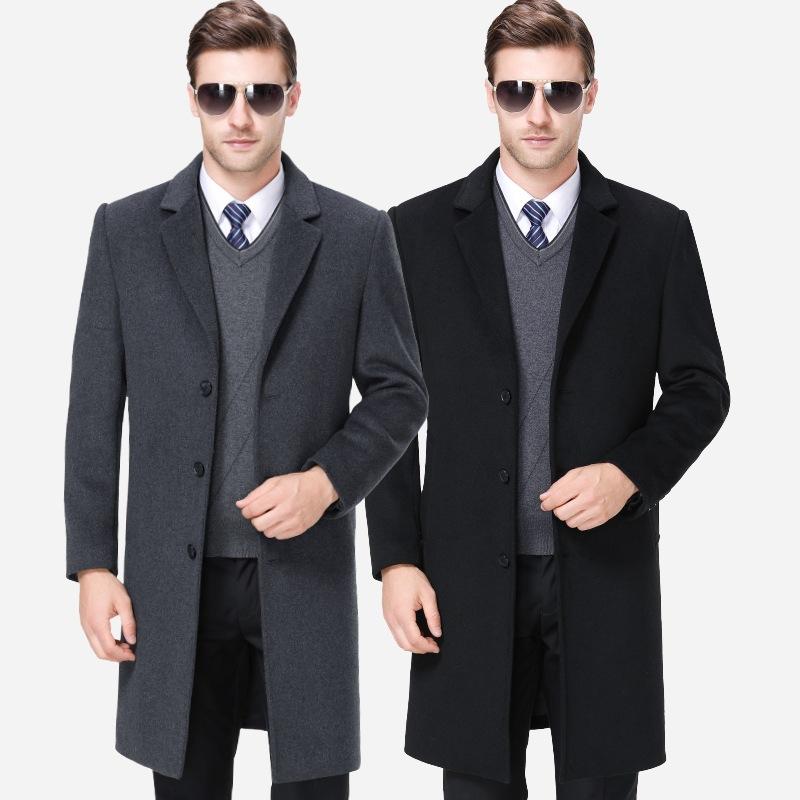 男大衣2018新款秋冬中年男士宽松大衣外套男式中长款羊毛呢子批发