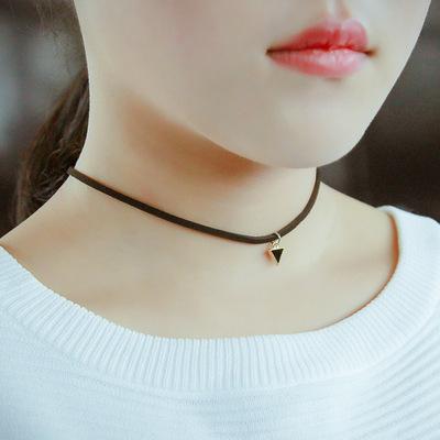 [艾琪]欧美项饰choker项链女锁骨链双层黑色蕾丝珍珠颈链项圈批发