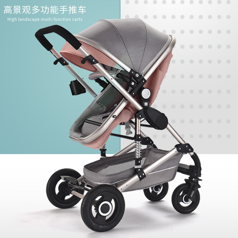 عربة طفل خفيفة الوزن عالية يمكن الجلوس مستلقًا امتصاص الصدمات الرباعي للطي في اتجاهين عربة طفل عربة أطفال حديثي الولادة