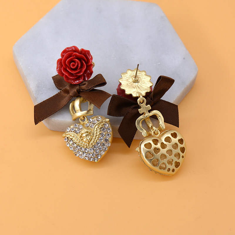 Earrings female exaggerated metal ball flower earrings vintage baroque cross NHNT177554