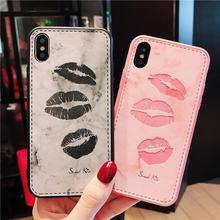 创意皮质嘴唇?#36824;鸛手机壳iphone7/8 plus全包xsmax硅胶6s保护套潮