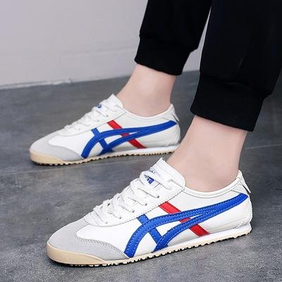 2019新款韩版女士真皮阿甘鞋情侣时尚休闲潮鞋男士低帮系带运动鞋