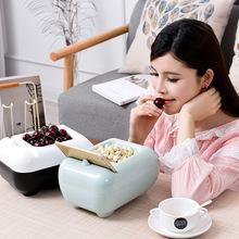塑料双层懒人神器盘干美观耐用 创意水果盘客厅收纳盒嗑神器瓜子