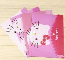 KT貓kittyA4文件袋透明學生試卷袋收納袋塑料紐扣資料袋卡通文具