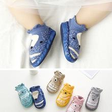 18新款卡通嬰兒皮底襪子 寶寶學步鞋襪  狐貍款防滑軟底地板襪