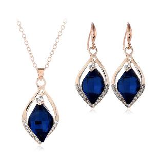 Swarovski blue crystal necklace earrings set Austrian rhinestone jewelry bridal gifts cross-border e-commerce hot sale