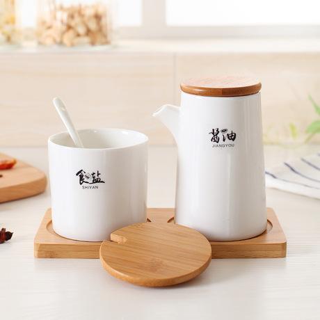 Cafeteria chai dầu tàu chở dầu chăm sóc gỗ tùy chỉnh độc lập sáng tạo gốm hộp nêm gia vị hộp thiết lập với Lọ gia vị