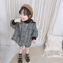 2018秋冬新款童套裝 女童寶寶呢格子套裝 韓版馬甲短褲外套三件套