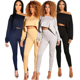 Europe and the United States  explosions solid color oblique shoulder short jacket + tight pencil pants two-piece suit
