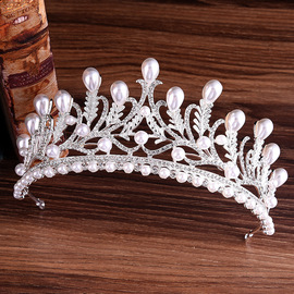 H1107 new bride pearl rhinestone crown leaf diamond alloy wedding tiara headband princess accessories