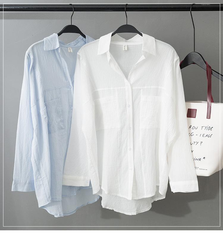 秋夏新款2019韓版女裝翻單排扣棉衣寬松大碼長袖女式襯衫學院風