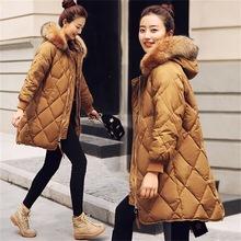 韩国貉子大真毛领羽绒服女中长款冬季2018新款时尚加厚白色外套潮