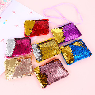 Foreign trade explosion mermaid sequined bag children messenger bag cartoon wallet square small wallet coin purse
