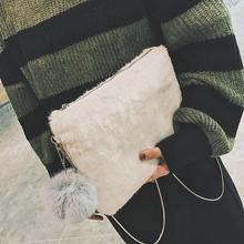 毛毛包包2018秋冬新款韓版毛絨絨信封包時尚單肩女包斜挎包鏈條包