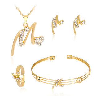 Cross-border hot-selling new necklace set, exquisite alloy diamond-studded necklace earrings, four-piece jewelry set, one drop shipping