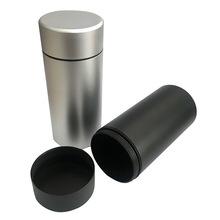 长款钛铝合金茶叶铝罐 迷螺旋口圆型密封金属罐螺旋喷砂烟盒