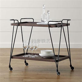 Household solid wood iron dining car double retro kitchen trolley dining tray mobile restaurant wine rack tea truck cabinet