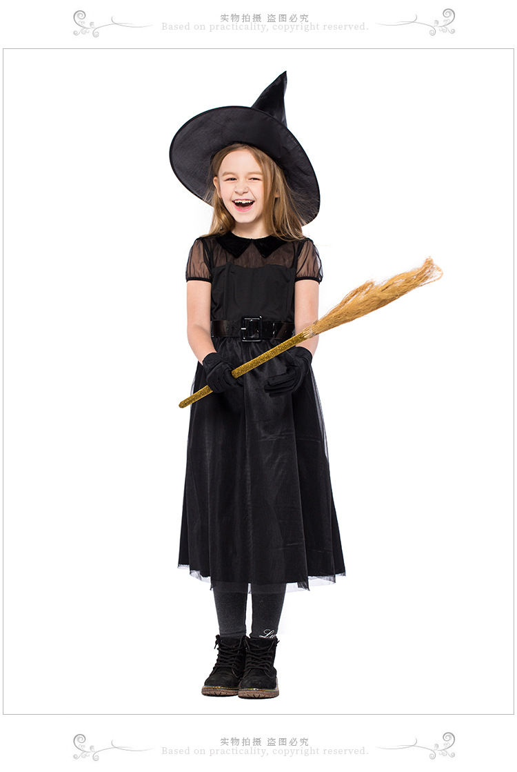 Halloween Witch Costume Black Mesh Little Devil Girl Dress Up Performance Costume NHFE153954