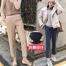 Pregnant women's wear spring and autumn new fashion star material small feet straight tube nine points pregnant women's belly pants