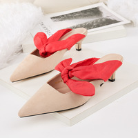 2898-1 Korean version, fashion, pointed, shallow, high heeled shoes, large bow, women's singles and women's shoes.