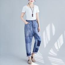 一衫伴水春夏新款做旧个性直筒裤韩版街头牛仔裤松紧腰大码流浪记