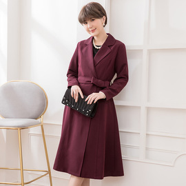 Cui Ying cuiying ladies winter new solid color European and American style wool coat V-neck with belt long coat