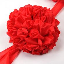 新車表彰汽車綢子車頭大紅花球中式奠基紅繡球結婚車上綢布大紅花